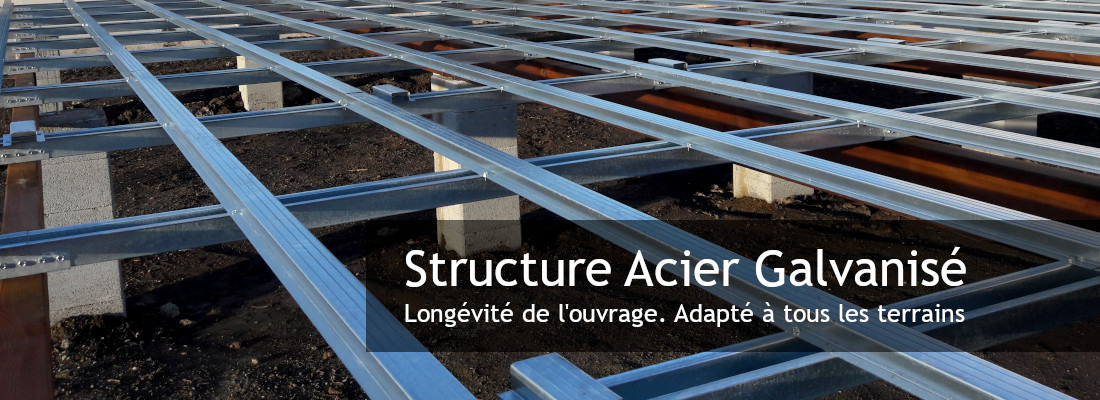 structure de terrasse en acier galvanisé posé par l'entreprise occia à vias